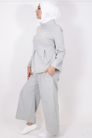 Pantalon Eva gris clair pas cher & discount