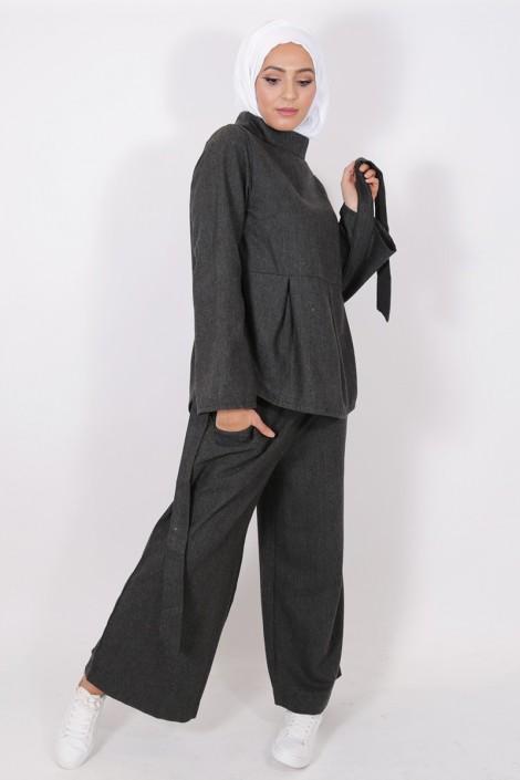 Pantalon Eva gris foncé