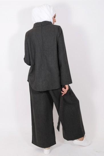 Pantalon Eva gris foncé pas cher & discount
