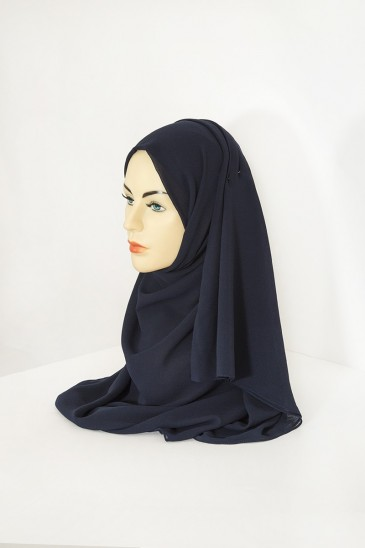 Hijab basic carré bleu marine pas cher & discount