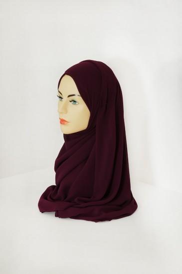 Hijab basic carré prune pas cher & discount