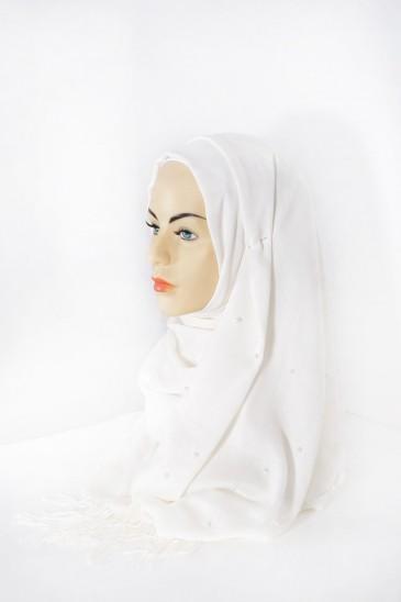 Hijab Pashmina Perle Ecru pas cher & discount