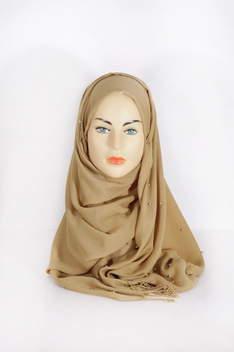 Hijab Pashmina Perle Moutarde