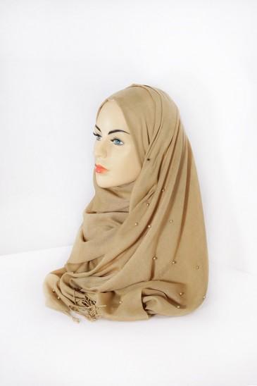 Hijab Pashmina Perle Moutarde pas cher & discount