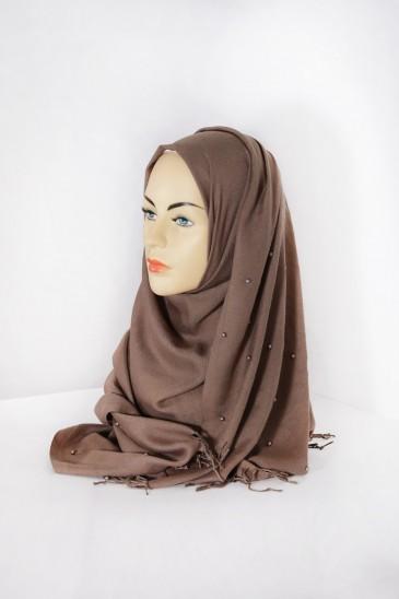 Hijab Pashmina Perle Taupe pas cher & discount
