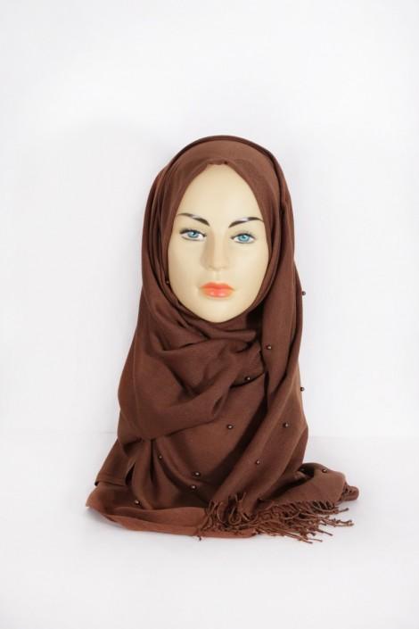 Hijab Pashmina Perle Marron