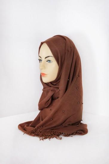 Hijab Pashmina Perle Marron pas cher & discount