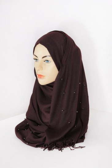 Hijab Pashmina Perle Chocolat pas cher & discount