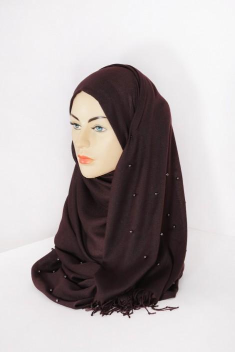 Hijab Pashmina Perle Chocolat