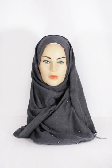 Hijab Pashmina Perle Gris anthracite pas cher & discount
