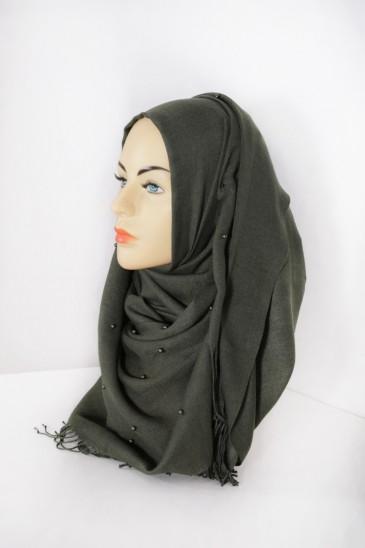 Hijab Pashmina Perle Kaki pas cher & discount