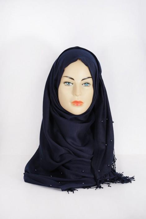 Hijab Pashmina Perle Bleu marine