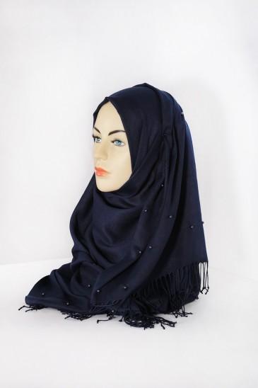 Hijab Pashmina Perle Bleu marine pas cher & discount