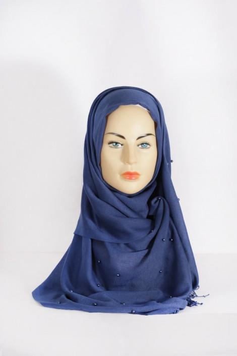Hijab Pashmina Perle Bleu Indigo