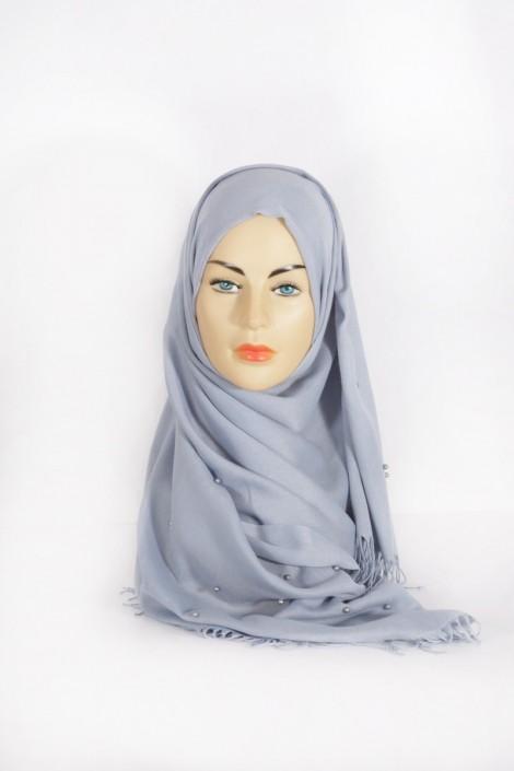 Hijab Pashmina Perle Bleu Grisé