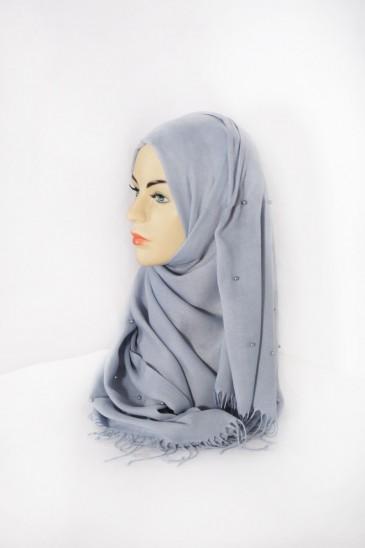 Hijab Pashmina Perle Bleu Grisé pas cher & discount