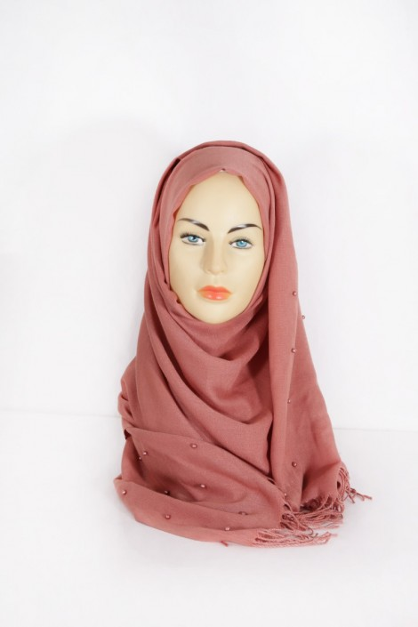 Hijab Pashmina Perle Acajou