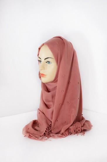 Hijab Pashmina Perle Acajou pas cher & discount