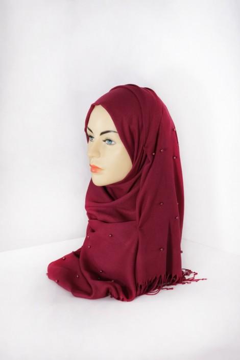 Hijab Pashmina Perle Bordeaux