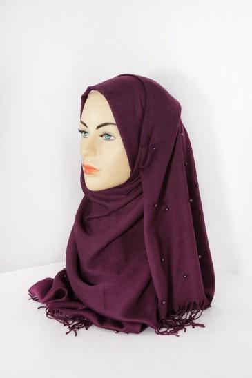 Hijab Pashmina Perle Violet pas cher & discount