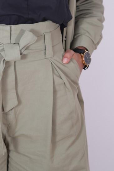 Pantalon Yousra Kaki Clair pas cher & discount