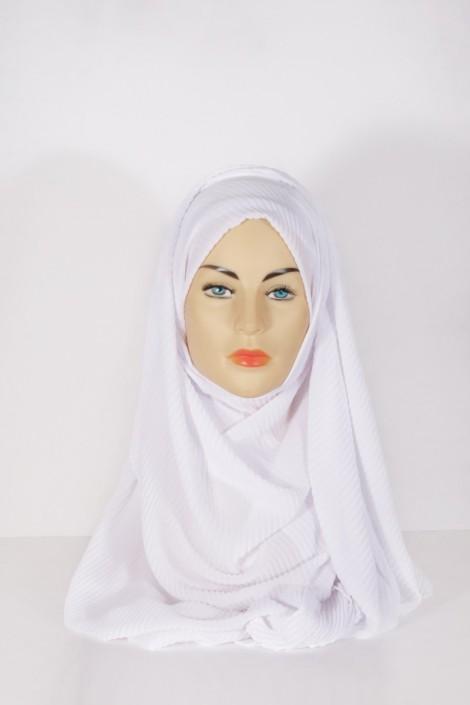 Hijab Mousseline Plissé Blanc