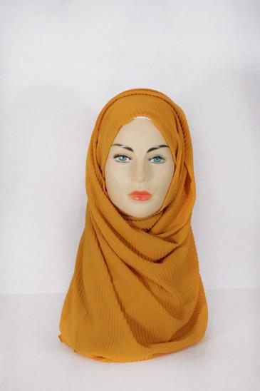 Hijab Mousseline Plissé Curry pas cher & discount