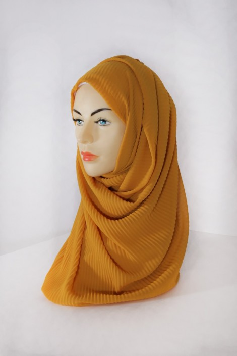 Hijab Mousseline Plissé Curry