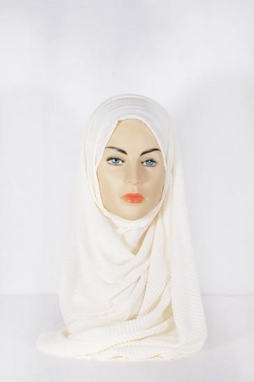Hijab Mousseline Plissé Ecru pas cher & discount