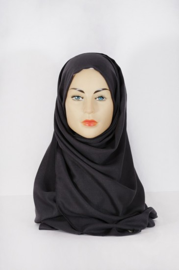 Hijab Pashmina XXL Gris foncé pas cher & discount