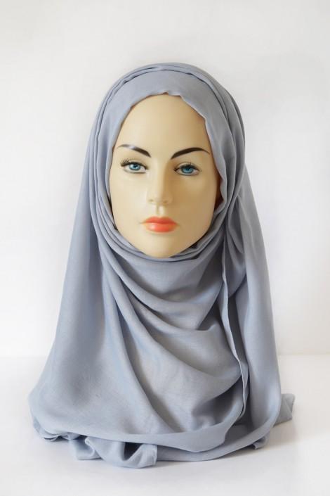 Hijab Pashmina XXL Bleu fumé