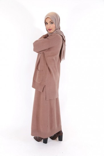 Pull Hafeeza Taupe pas cher & discount