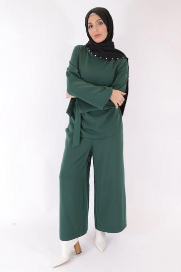 Pantalon Eva Vert Sapin pas cher & discount