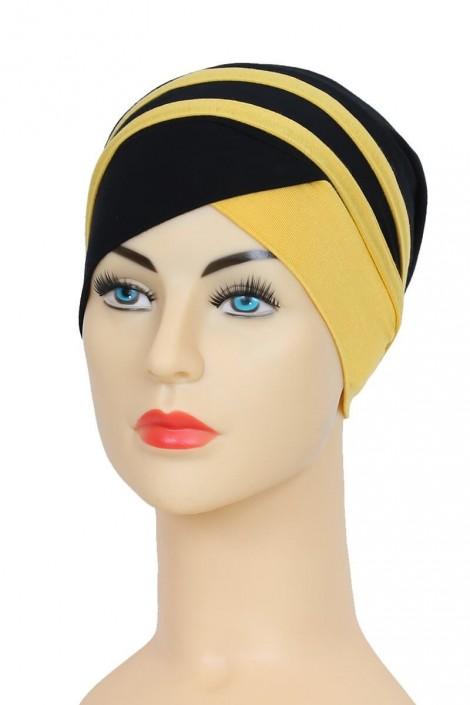 Turban Yoana Noir et Jaune pour femme