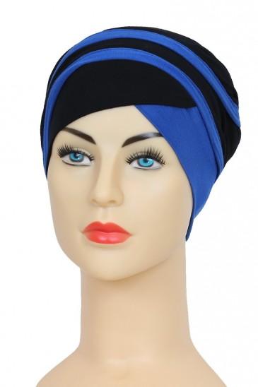 Turban Yoana Noir et Bleu roi pas cher & discount