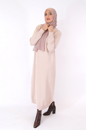 Robe Pull Femme ASMA BEIGE pas cher & discount