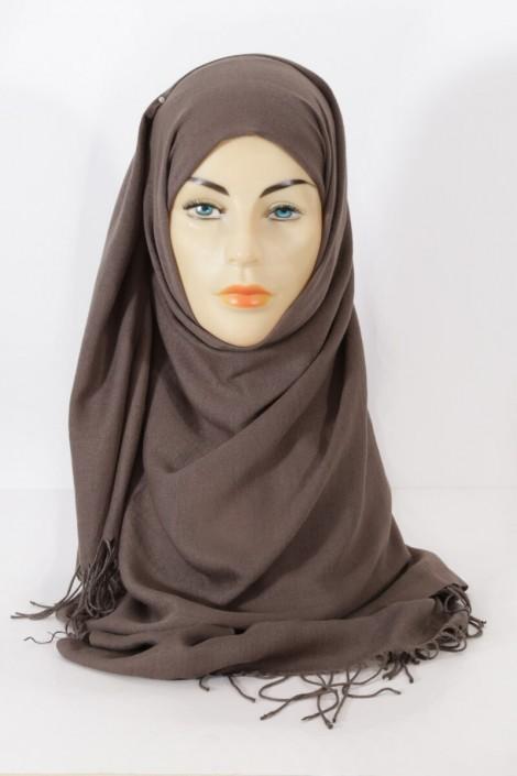 Hijeb pashmina royal -taupe foncé