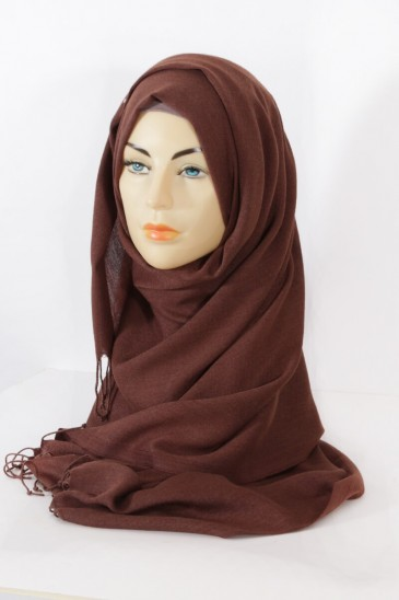 Hijab Pashmina royal - Tons Marron - Marron chiné pas cher & discount