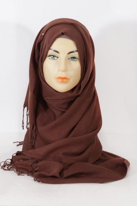 Hijab Pashmina royal - Tons Marron - Marron chiné