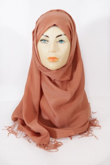 Hijab Pashmina royal - Tons Rouge Orange - Terre de sienne pas cher & discount