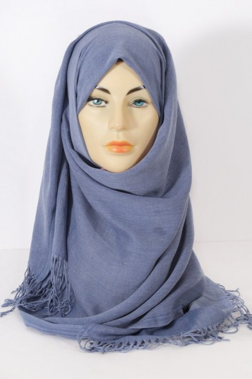 Hijab Pashmina royal - Tons Bleu - Bleu Jeans pas cher & discount
