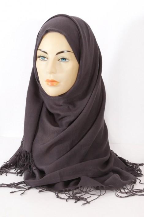 Hijab Pashmina royal- gris foncé Gris foncé