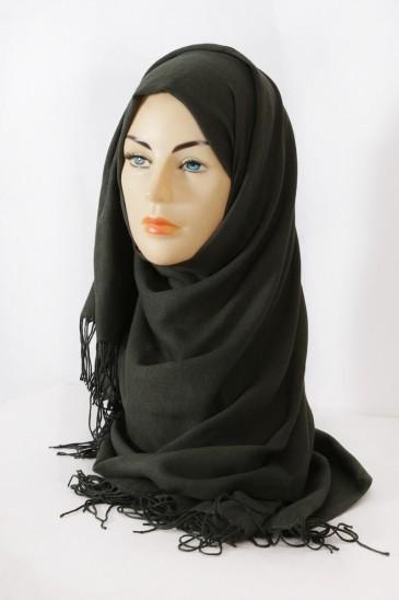 Hijab Pashmina royal- Kaki Foncé pas cher & discount