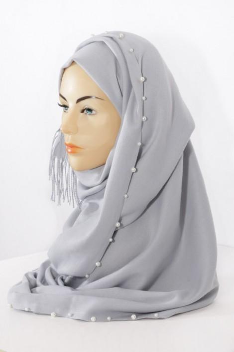 Hijab Pearl- Bleu Fumé