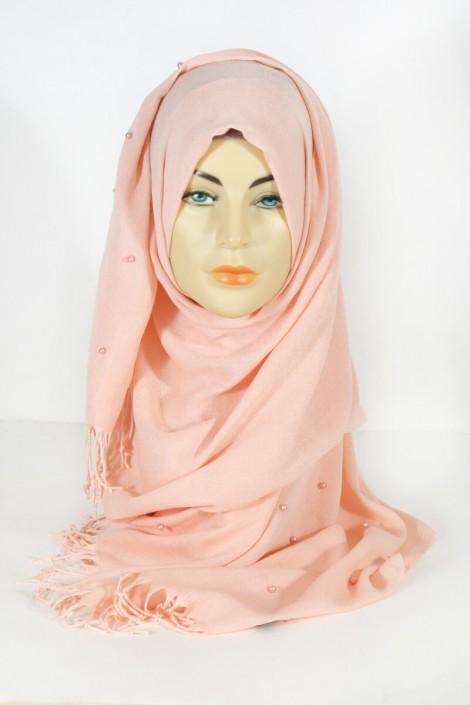 Hijab Pashmina Perle Rose Saumon