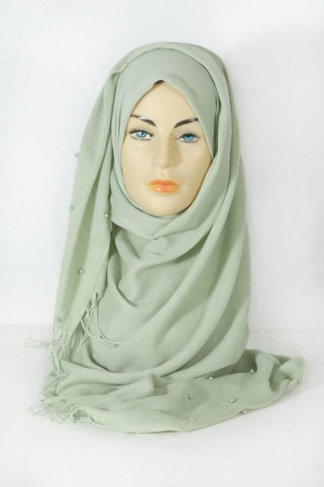 Hijab Pashmina Perle Vert Amande