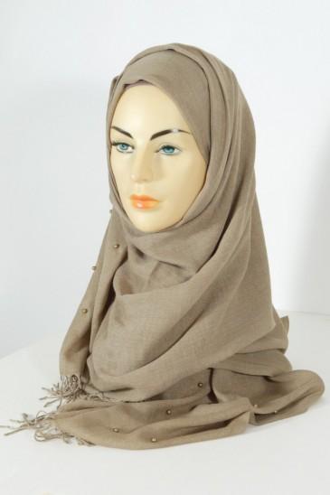 Hijab PASHMINA PERLE TAUPE CLAIR pas cher & discount