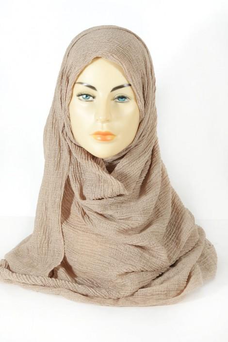 Hijab gaufré- beige foncé