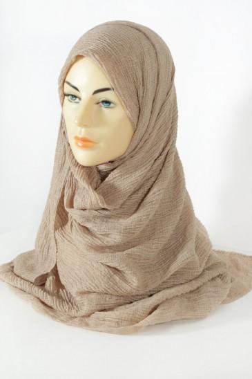 Hijab gaufré- beige foncé pas cher & discount