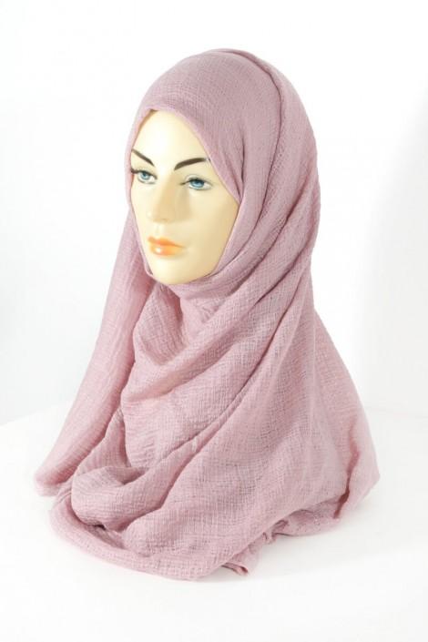 Hijab gaufré- Vieux rose